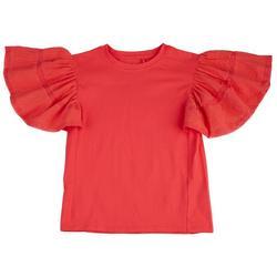 Big Girls Solid Flutter Sleeve Top