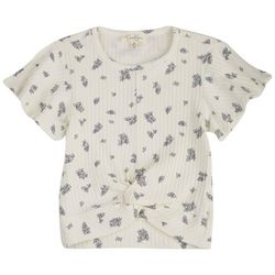 Jessica Simpson Big Girls Floral Ribbed Twist Front Top