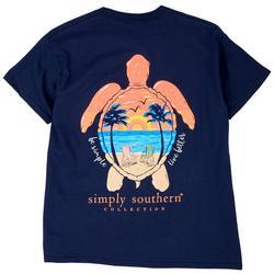 Big Girls Sea Turtle Sunset Beach T-Shirt