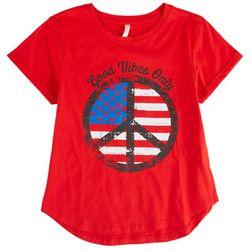 Runway Girl Big Girls Americana Peace Symbol T-Shirt