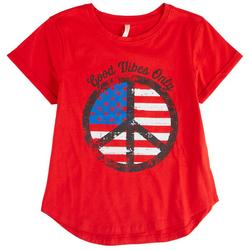 Big Girls Americana Peace Symbol T-Shirt