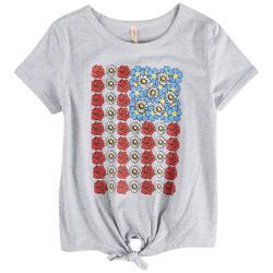 Big Girls Floral American Flag T-Shirt