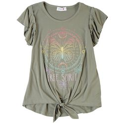 Beautees Big Girls Glitter Butterfly Tie Front T-Shirt