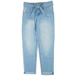 Big Girls Paper Bag Roll Cuffed Denim Jeans