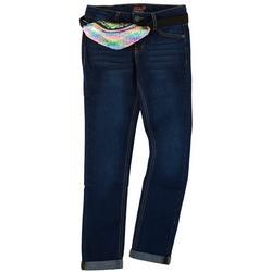 Big Girls Roll Cuff Denim Jeans & Sequin Waist Bag