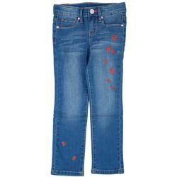 YMI Little Girls Embroidered Heart Denim Jeans