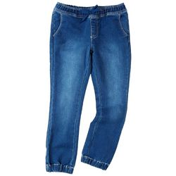 YMI Big Girls Elastic Cuff Pull On Knit Denim Joggers