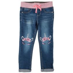 Squeeze Little Girls Unicorn Embroidered Denim Jeans