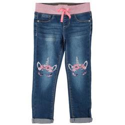 Little Girls Unicorn Embroidered Denim Jeans