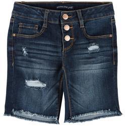 Big Girls 3 Button Denim Bermuda Shorts