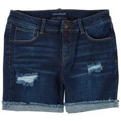 Vanilla Star Big Girls Destructed Denim Bermuda Shorts