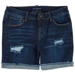 Big Girls Destructed Denim Bermuda Shorts