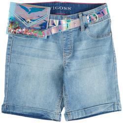 Big Girls Denim Bermuda Shorts & Pouch Belt