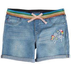 Little Girls Unicorn Rainbow Roll Cuffed Denim Shorts