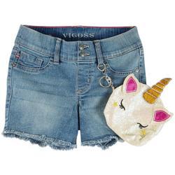 Big Girls Denim Shorts & Unicorn Pouch