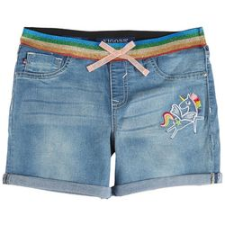 Vigoss Big Girls Unicorn Rainbow Roll Cuffed Denim Shorts