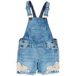 Little Girls Crochet Hem Denim Shortall