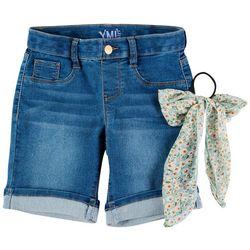 YMI Big Girls Bermuda Denim Shorts & Hair Tie