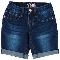 YMI Big Girls Cuffed Bermuda Denim Shorts