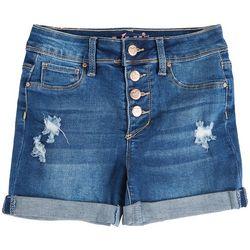 YMI Big Girls Distressed Roll Cuff Denim Shorts