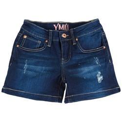 Big Girls Whiskered Destructed Denim Shorts
