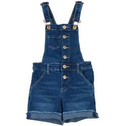 Little Girls Button Denim Shortall