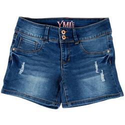 Big Girls Double Button Destructed Denim Shorts
