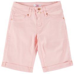 Big Girls Dual Button Closure Cuffed Bermuda Shorts