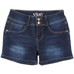 YMI Big Girls 2 Button Denim Shorts