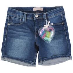 Little Girls Denim Shorts & Hair Ties