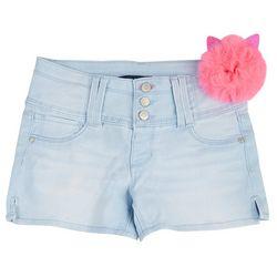 Squeeze Big Girls Denim Shorts & Kitty Puff Keychain