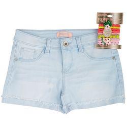 Squeeze Little Girls Denim Shorts & Pineapple Hair Ties