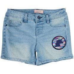 Squeeze Big Girls Denim Unicorn Patch Denim Shorts