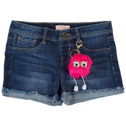 Big Girls Denim Shorts & Poof Keychain