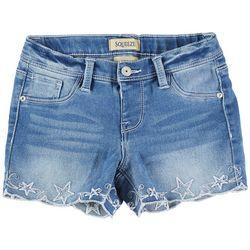 Squeeze Little Girls Star Hem Denim Shorts