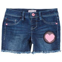 Squeeze Big Girls Sequin Heart Denim Shorts