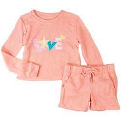 Vigoss Little Girls 2-pc. Love Screen Print Short Set
