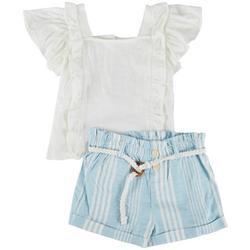Little Girls 2-pc. Striped Woven Short Set