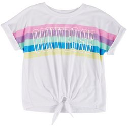Converse Big Girls Rainbow Tie Front Tee