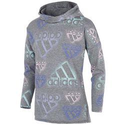 Adidas Big Girls All-Over Logo Long Sleeve Hooded T-Shirt