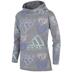 Big Girls All-Over Logo Long Sleeve Hooded T-Shirt