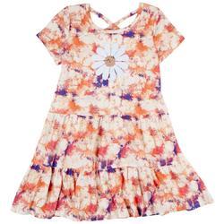 Big Girls Tie Dye Flower Sequin Tier Dress