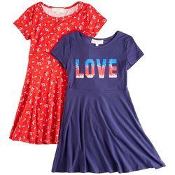 No Comment Big Girls 2-pk. Love Floral Dress Set