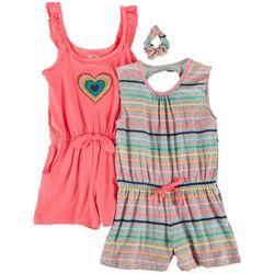 Freestyle Little Girls 2-pk. Heart Stripe Romper Set