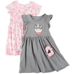 Freestyle Little Girls 2-pk. Unicorn Cupcake Dress Set