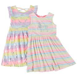 Little Girls 2-pk. Rainbow Unicorn Dress Set
