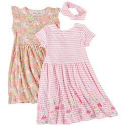 Freestyle Little Girls 2-pk. Floral Stripe Dress Set
