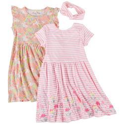 Little Girls 2-pk. Floral Stripe Dress Set