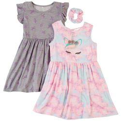 Freestyle Little Girls 2-pk. Unicorn Crown Dress Set