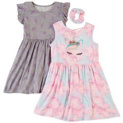 Little Girls 2-pk. Unicorn Crown Dress Set